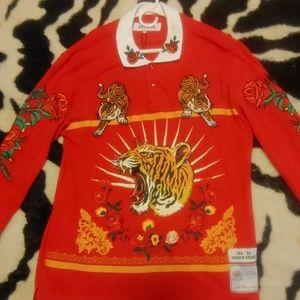 Tiger and rose print Long sleeve Shirt Men